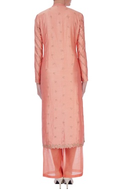 peach chanderi silk zari long kurta set