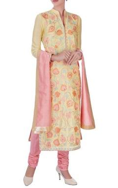 yellow chanderi silk embroidered long kurta set