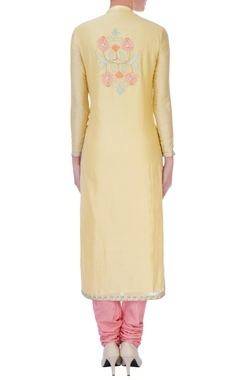 Yellow chanderi silk embroidered long kurta set