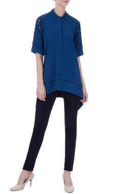navy blue double georgette sequin shirt