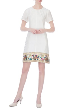 off white dupion embroidered short dress
