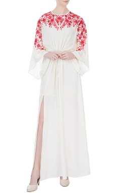 off white double georgette embroidered kaftan dress