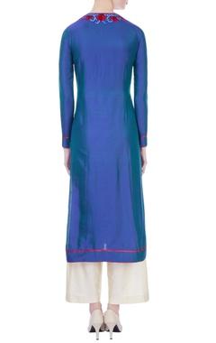 blue spun silk thread work kurta
