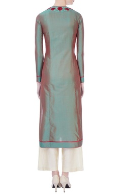 green spun silk thread work kurta