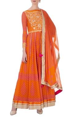 pink & rust orange gota & thread embroidered anarkali set