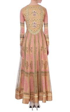 Pink & gold gota embroidered anarkali with dupatta