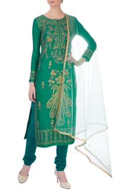 Teal-green gota embroidered viscose silk kurta set
