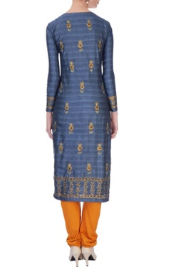 Blue viscose silk gota embroidered kurta set