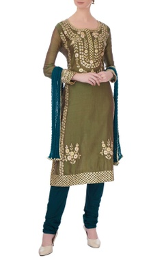 Bottle green chanderi gota embroidered kurta set