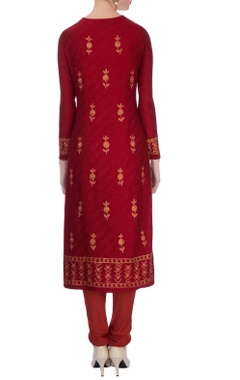 Maroon chanderi gota embroidered kurta set