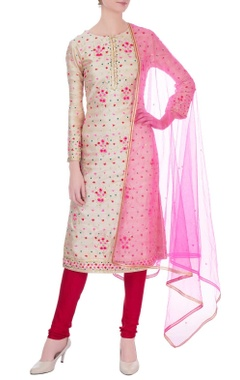Rose gold gota embroidered kurta set