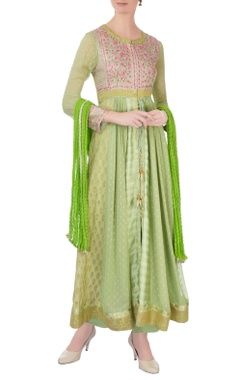green & pink gota embroidered anarkali set