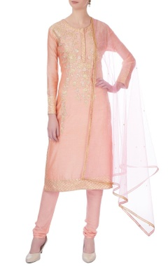 Peach gota embroidered chanderi kurta set