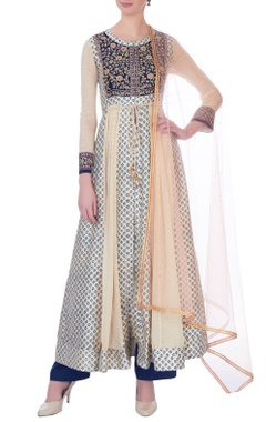 Blue zardozi embellished anarkali set