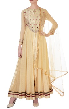 Gold zardozi embellished anarkali set