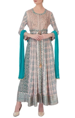 blue & beige gota & thread embroidered kurta set