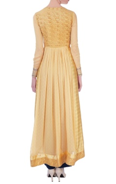 Gold anarkali jacket with pants & dupatta