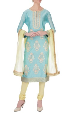 Blue & yellow chanderi gota embroidered kurta set