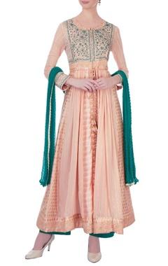Peach & green gota embroidered chanderi kurta set