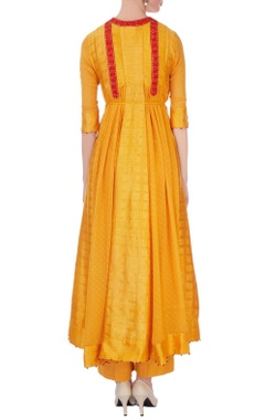 Orange thread embroidered kurta-jacket & dupatta