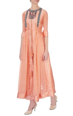 Peach viscose silk embroidered kurta & pants