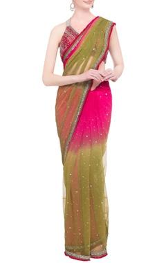 green & pink embellished blouse with sari
