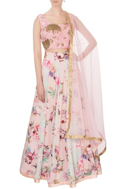 pink & powder blue georgette & silk printed lehenga set
