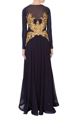 Black georgette embroidered maxi dress