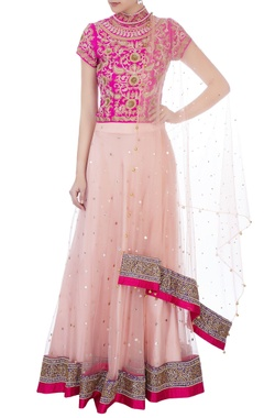 pink sequin embroidered blouse with lehenga & dupatta
