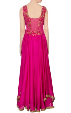 pink chiffon embroidered maxi dress