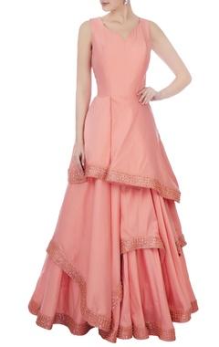 blush pink raw silk ruffle layered gown