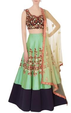 Black & green silk embroidered lehenga set