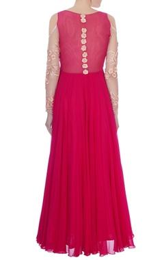 dark pink net embroidered cold shoulder gown
