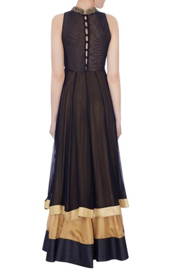 Black & beige net embroidered anarkali gown
