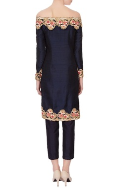 Navy blue pure raw silk embroidered kurta set