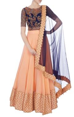 Black & peach chantily lace sequin embroidered lehenga set