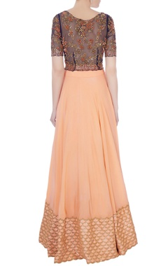 black & peach chantily lace sequin embroidered lehenga set