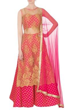 Pink pure chantilly brocade sharara set