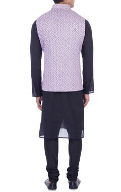 purple dupion silk screen printed nehru jacket