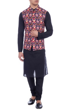 multicolored dupion silk nehru jacket