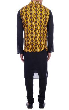 yellow & black dupion silk nehru jacket