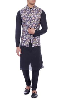 purple leaf printed nehru jacket