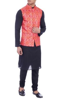 orange bandhej printed dupion silk jacket