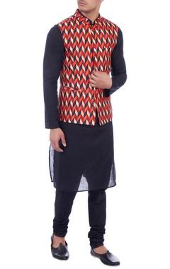 orange & navy blue dupion silk nehru jacket