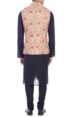 peach & beige floral printed nehru jacket