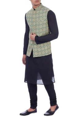 cream & green printed nehru jacket