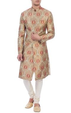 beige & red banarasi silk sherwani