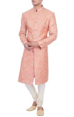 pink zari embroidered silk sherwani