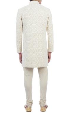 beige & cream, thread embroidered sherwani
