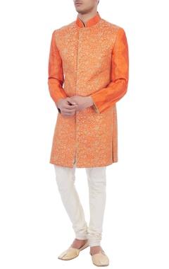 orange sequin embroidered dupion silk sherwani
